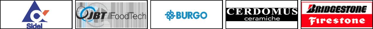 Alcune collaborazioni: Sidel, JBT FoodTech, Burgo, Cerdomus Ceramiche, Bridgestone Firestone